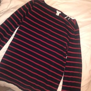 Navy and red striped boatneck shirt